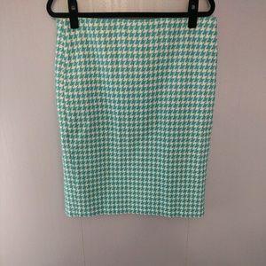 Talbot's Blue and White Herringbone Pencil Skirt